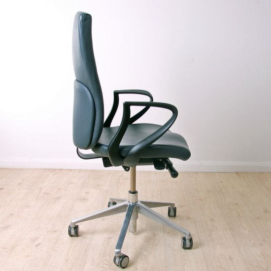 Task High Back Blue Grey Leather Operator Chair Leather